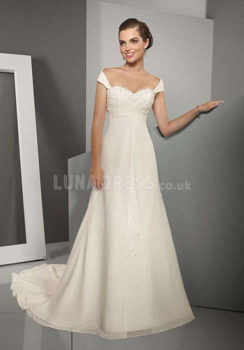 Gorgeous Off the Shoulder Floor Length Empire Chiffon Chapel Train Wedding Gown   #beachweddingdress
