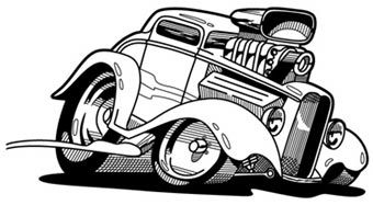 Old Muscle Car Cartoon Drawings The Line Art Drawing Above Was