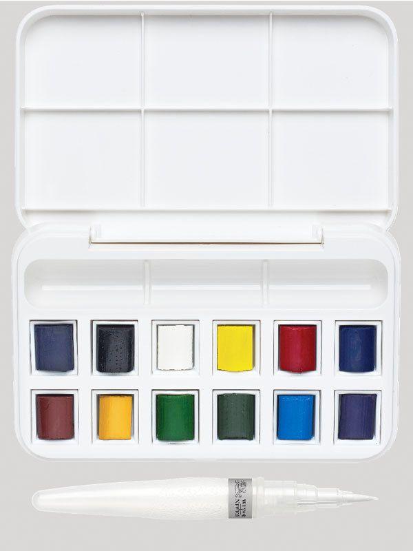 12 Aquarellfarben Wassertank Pinsel Set Aquarellkasten