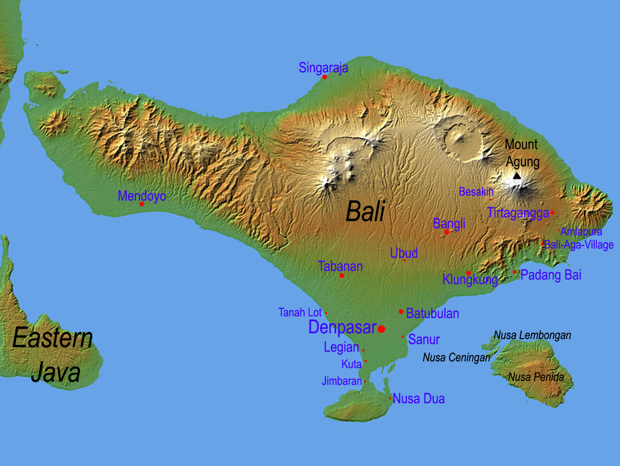 Topographic map of Bali Indonesia