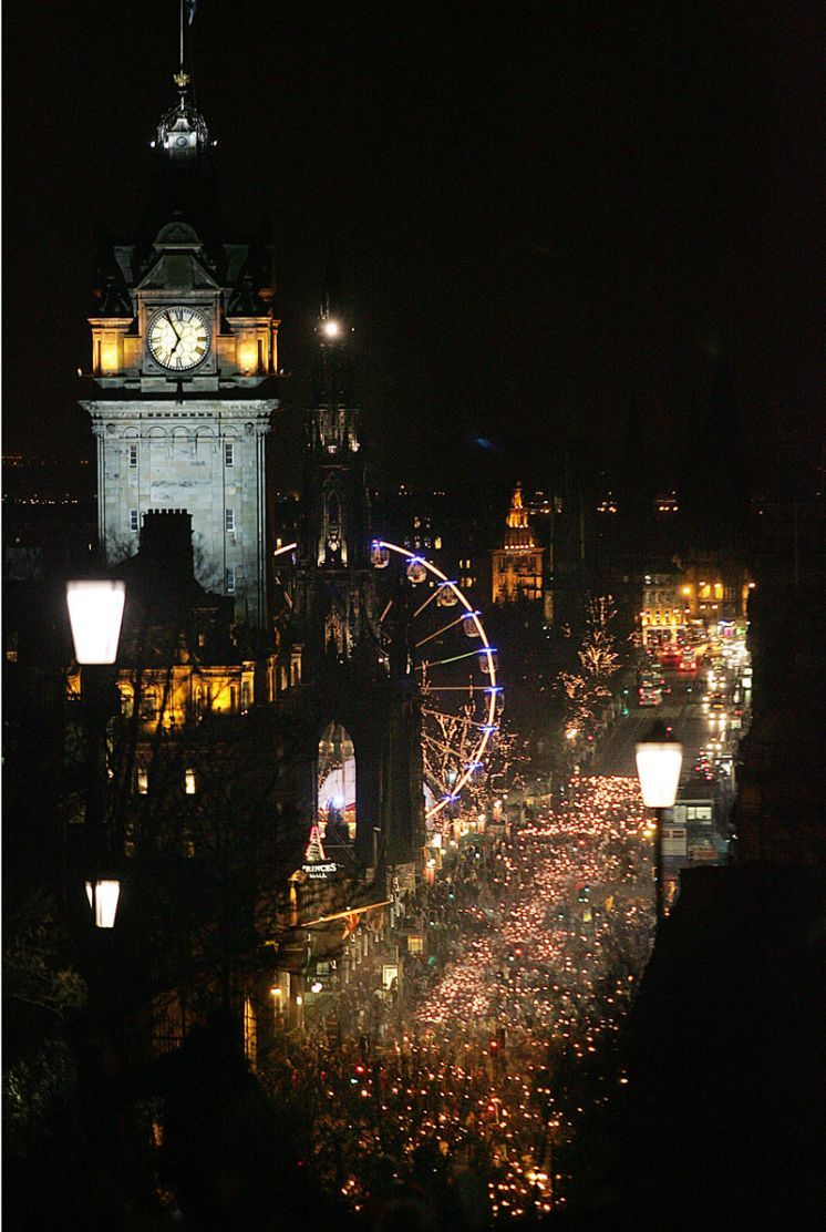 Edinburgh's Hogmanay - Torchlight Procession. Hogmanay is the Scottish word for last day of the year, New Year's Eve.