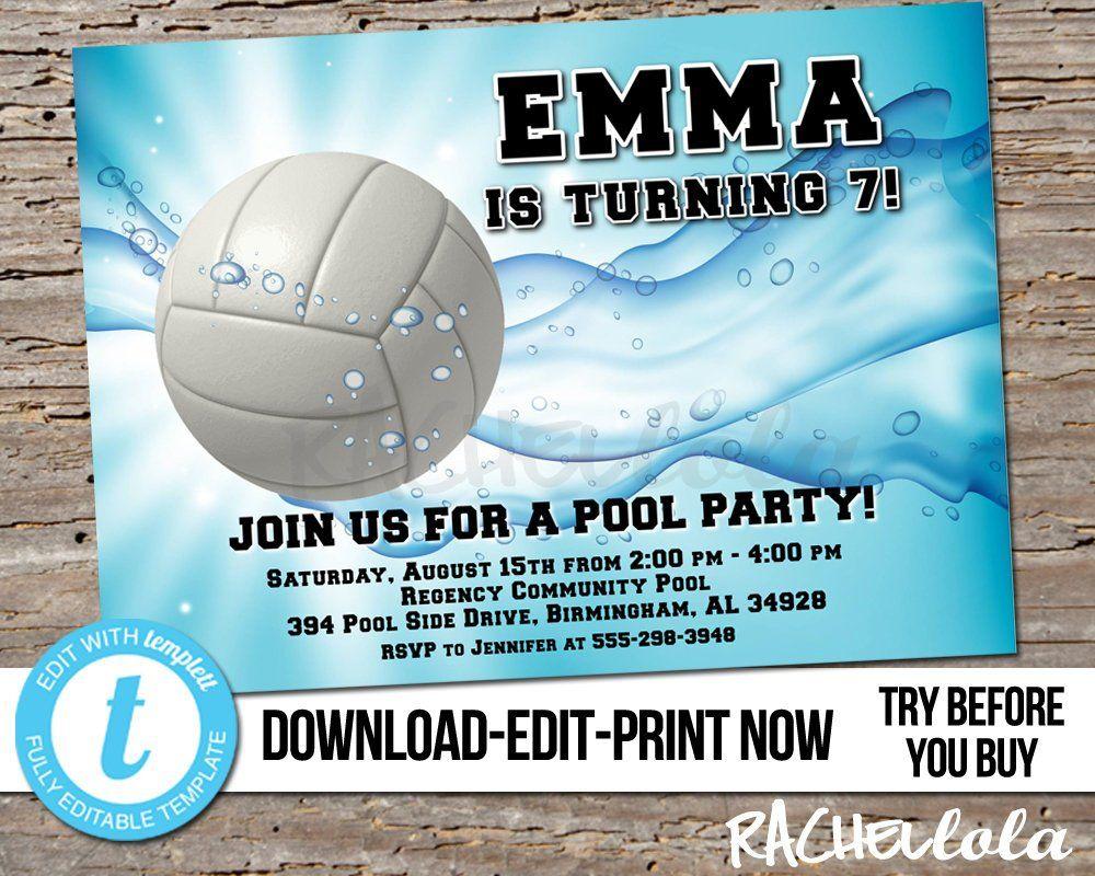 Editable Volleyball Pool Party, Birthday Invitation, Printable