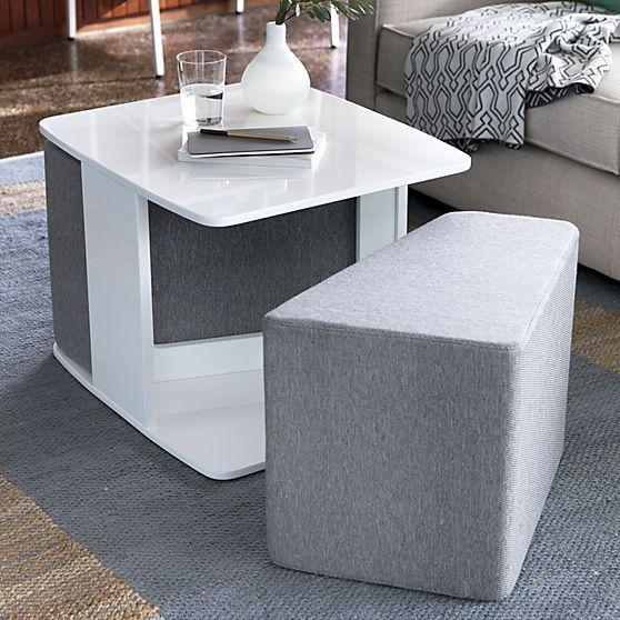 SAIC deep dish table and set of 2 cushions in all saic collab
