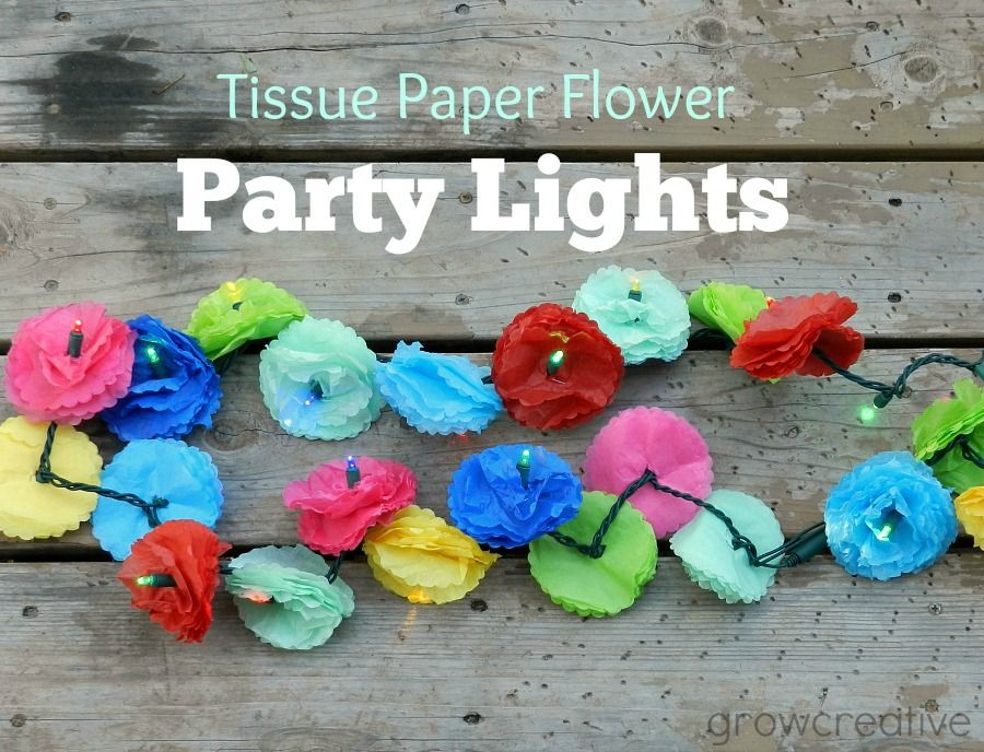 DIY Tissue Paper Flower Party Lights:  Tutorial by Grow Creative-cute idea for party lights