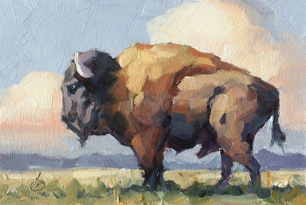 Buffalo Bison By Tom Brown Original Art Painting By Tom Brown
