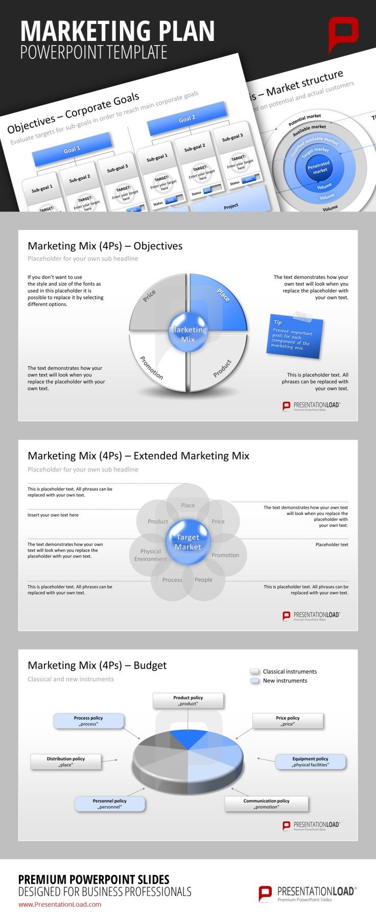 The Marketing Plan PowerPoint Templates contain specific