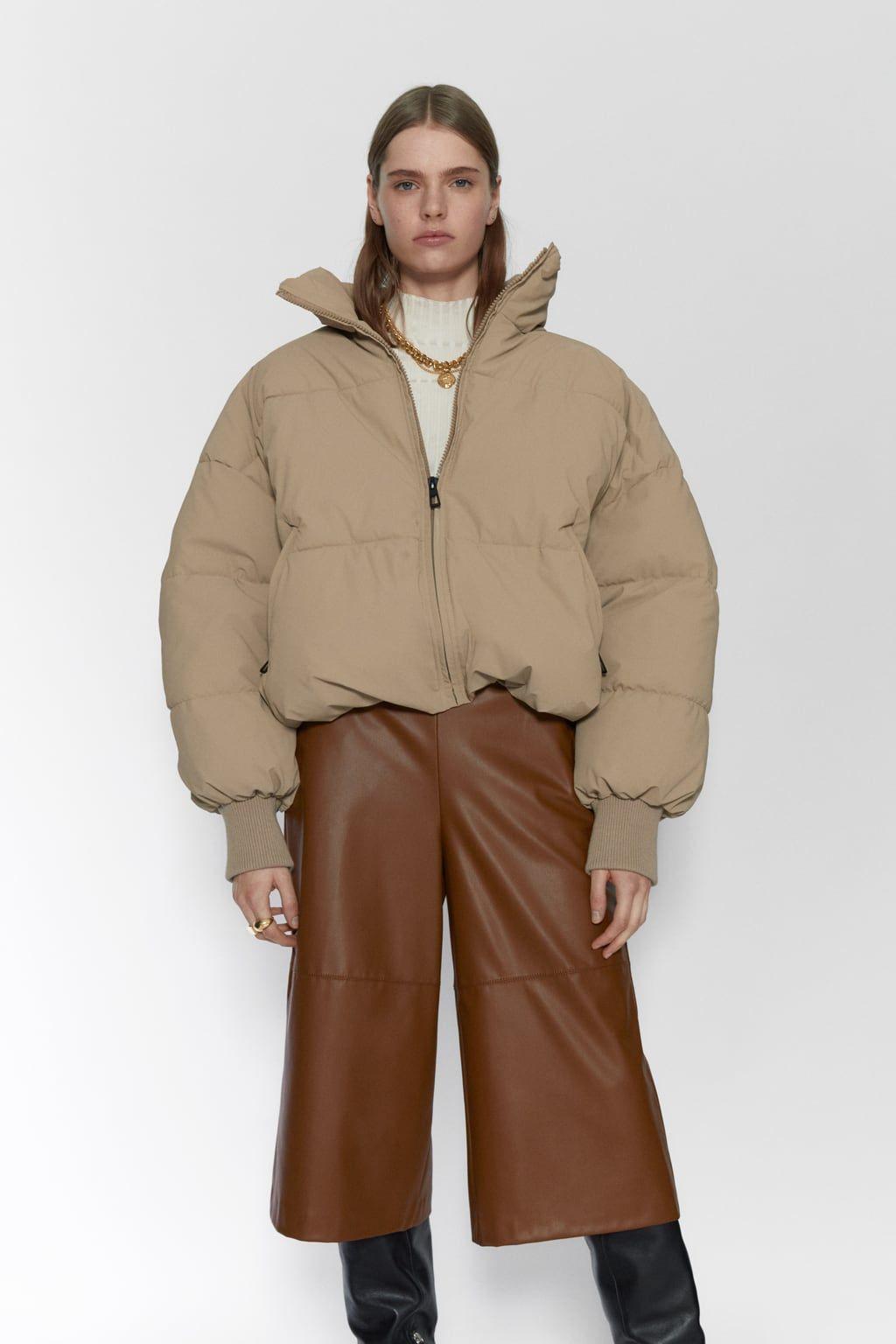 Oversized Puffer Jacket Zara United States Oversized Puffer Jacket Jackets High Collar [ 1536 x 1024 Pixel ]