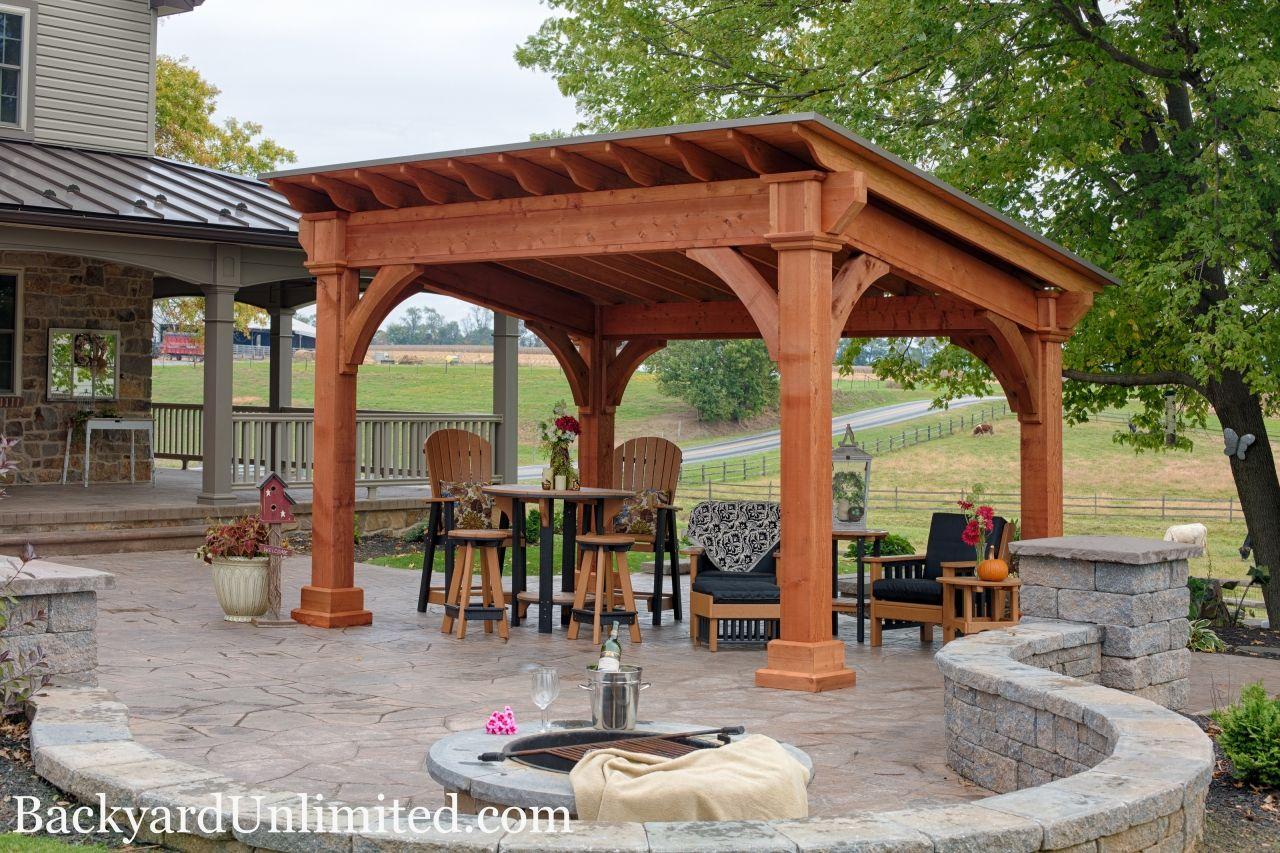 10 X14 Santa Fe Cedar Pavilion With Cedar Stain Backyard Pavilion Outdoor Pavilion Modern Gazebo