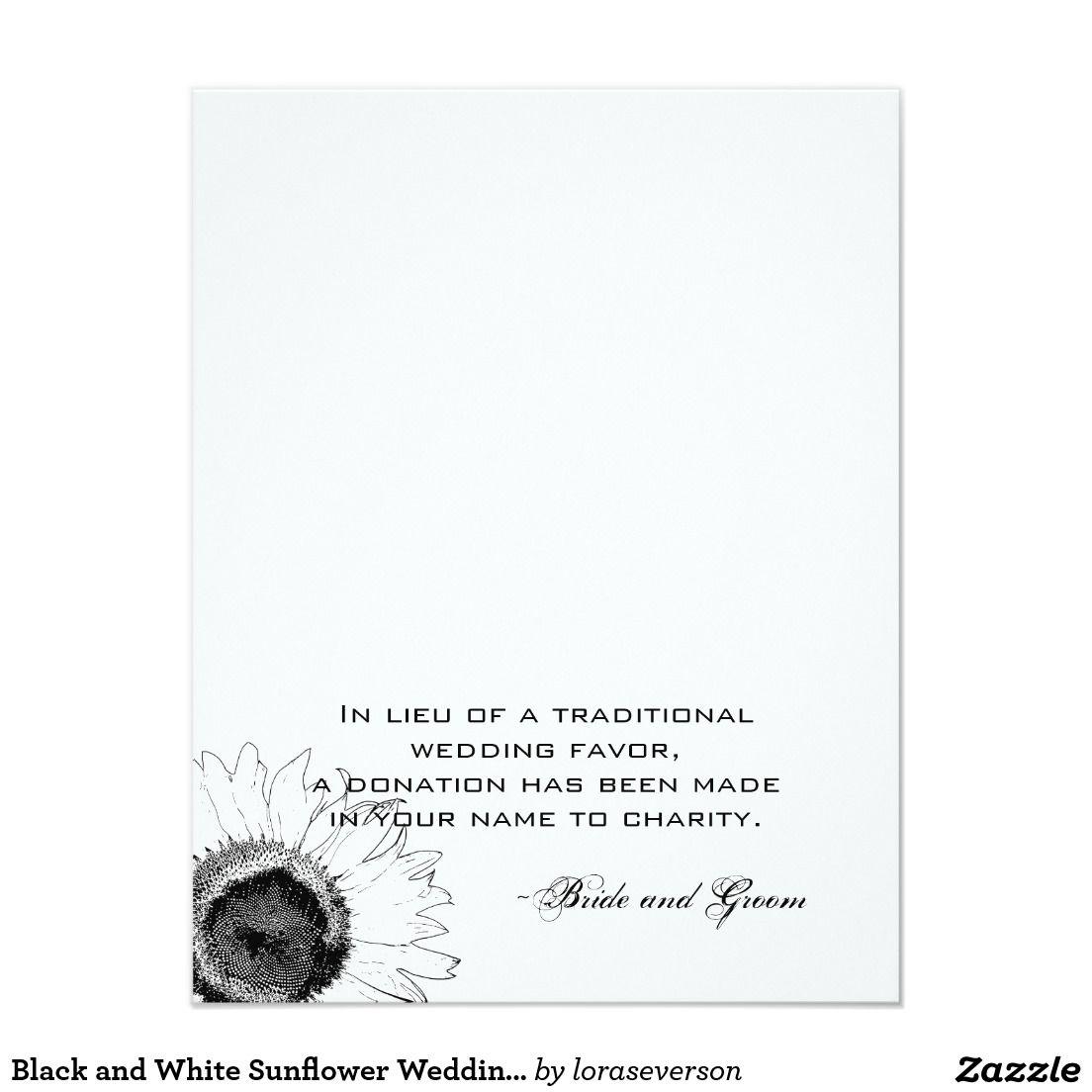 Black and White Sunflower Wedding Charity Favor Invitation ...