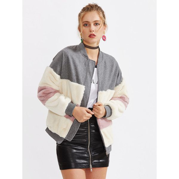 cb55441268 SheIn(sheinside) Color Block Faux Fur Panel Jacket (3515 RSD) ❤ liked on Polyvore  featuring outerwear, jackets, multi coloured faux fur jacket, ...