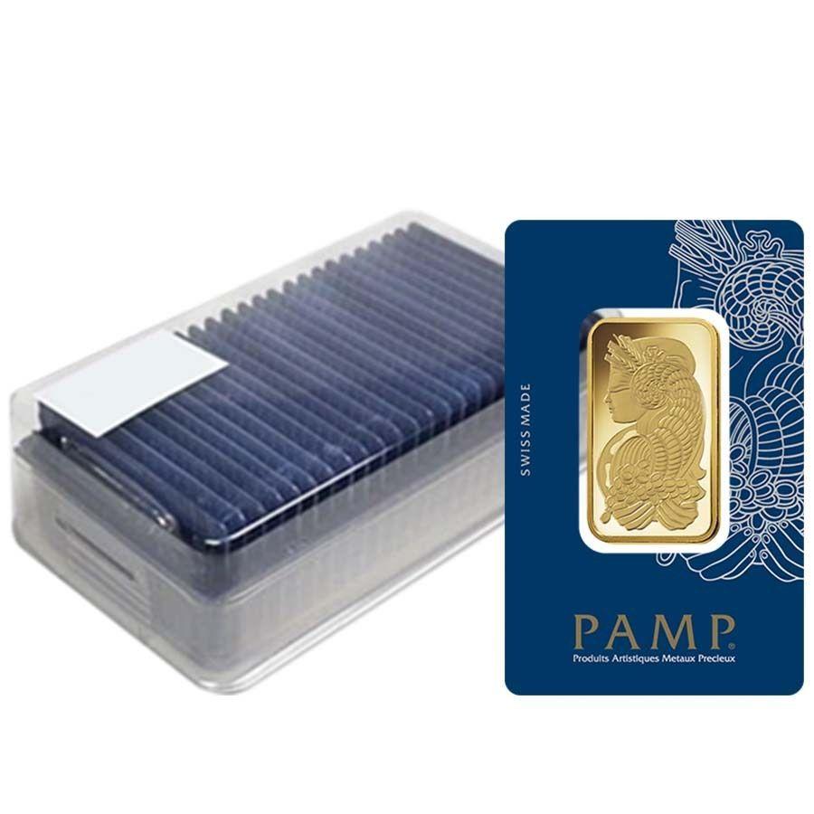 Box Of 25 1 Oz Gold Bar Pamp Suisse Lady Fortuna Veriscan 9999 Fine In Assay Silver Bars Gold Bar Fortuna