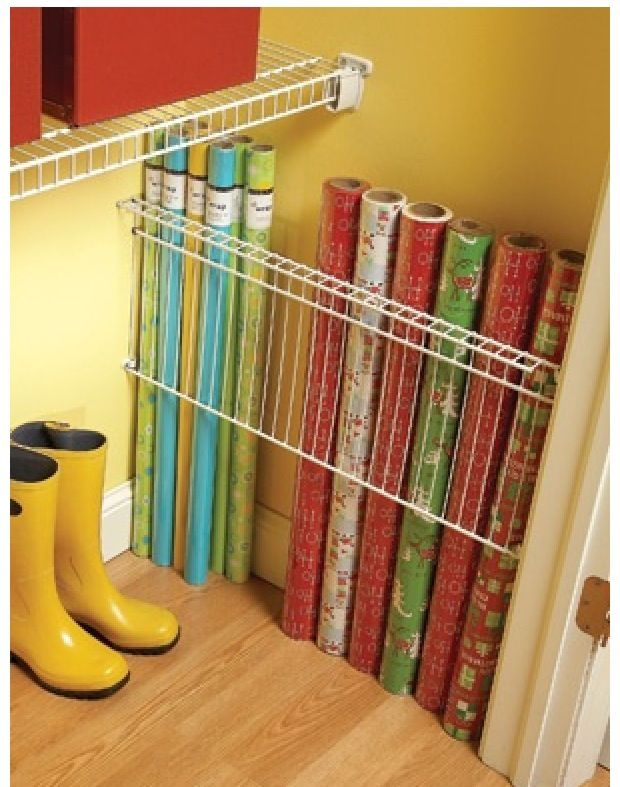 Store your rolls of wrapping paper in the dead space of your closet ...