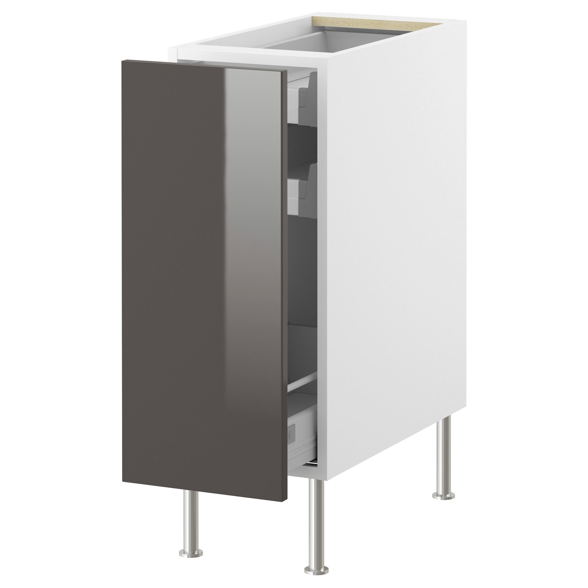 Elegant AKURUM Base Cabinet With Pull Out Storage   White, Abstrakt High Gloss Gray, Part 17