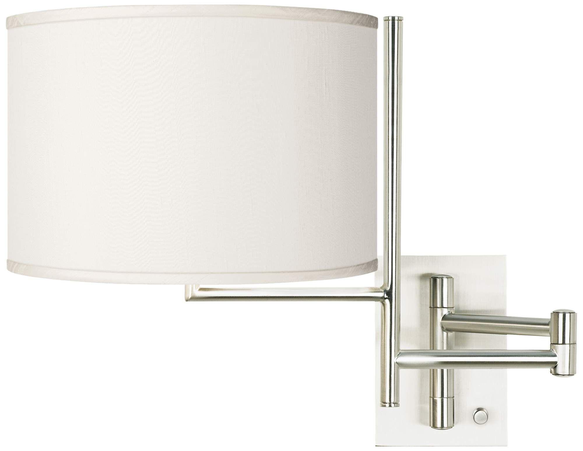 Cream Faux Silk Brushed Nickel Swing Arm Wall Lamp Swing Arm Wall Lamps Wall Lamp Lamp