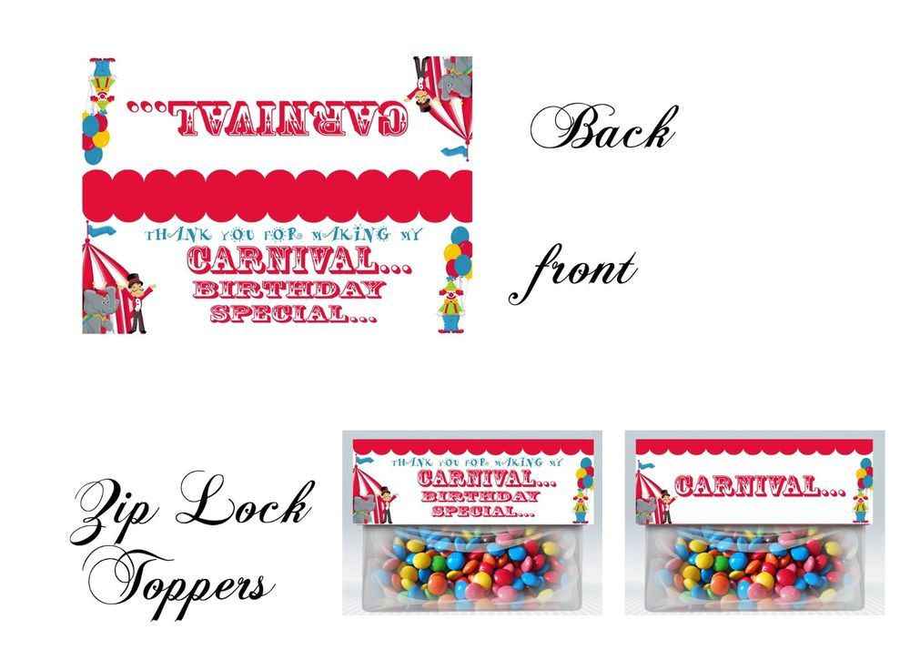 Carnival Zip Lock Toppers, Carnival Birthday, gift tags