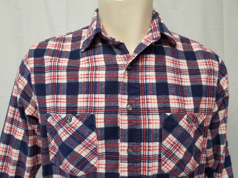 258d7fca7f1 Vtg Grunge 90s AMERICAN EDITION Red White Blue Plaid Flannel Shirt USA Mens  M  AmericanEdition  ButtonFront