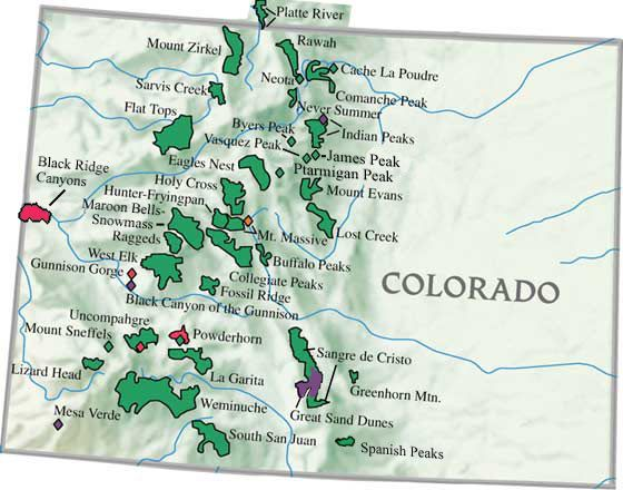 Map Of Colorado Mountain Ranges Colorado Wilderness Area Map | wanderlust in 2019 | Colorado