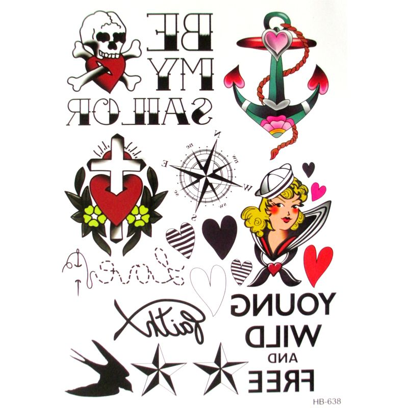 aed3ea4c8d6f3 3d designs sailor Temporary Tattoos Metal Anchor Body Art Paint Tattoo  Stickers Flash Metallic compass Sticker Eco-Friendly