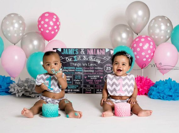 Twins First Birthday Chalkboard First Birthday Poster Chalkboard