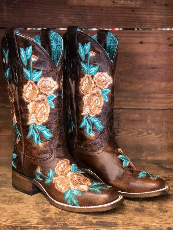 Corral Women's Chocolate Brown & Turquoise Floral Embroidery Square Toe Boot A3527 1