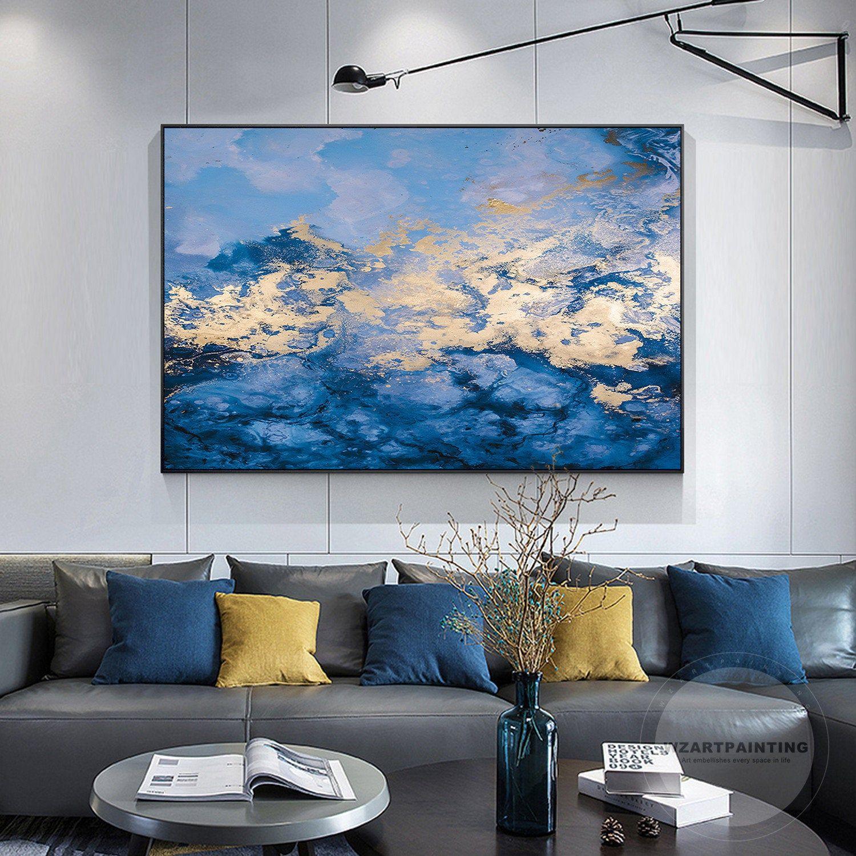 Framed Wall Art Modern Abstract Landscape Gold Navy Blue Wall Art