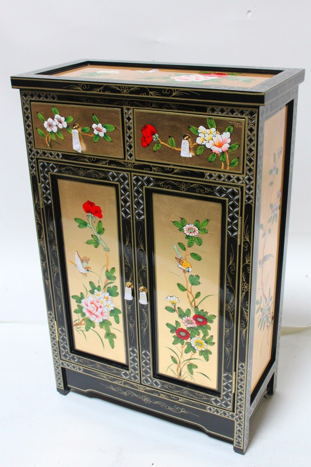 Oriental Cabinet Chinese Cabinet Gold Leaf Lacquer Cabinet   EBay