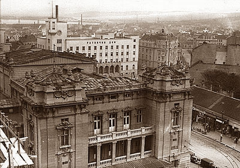 Belgrade in the 1930s - The National Theatre - The Warrior Home - View towards Street Francuska, Serbia