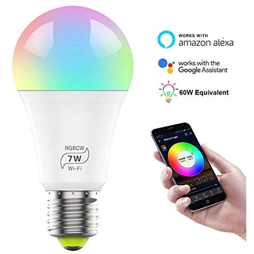 Shipbest Smart Gluhbirne Mit 7 W Led Beleuchtung Dimmbar E27 Wi Fi Led 60 W Rgb W Kompatibel Mit Amazon Alexa Echo Und Google Led Beleuchtung Led Beleuchtung