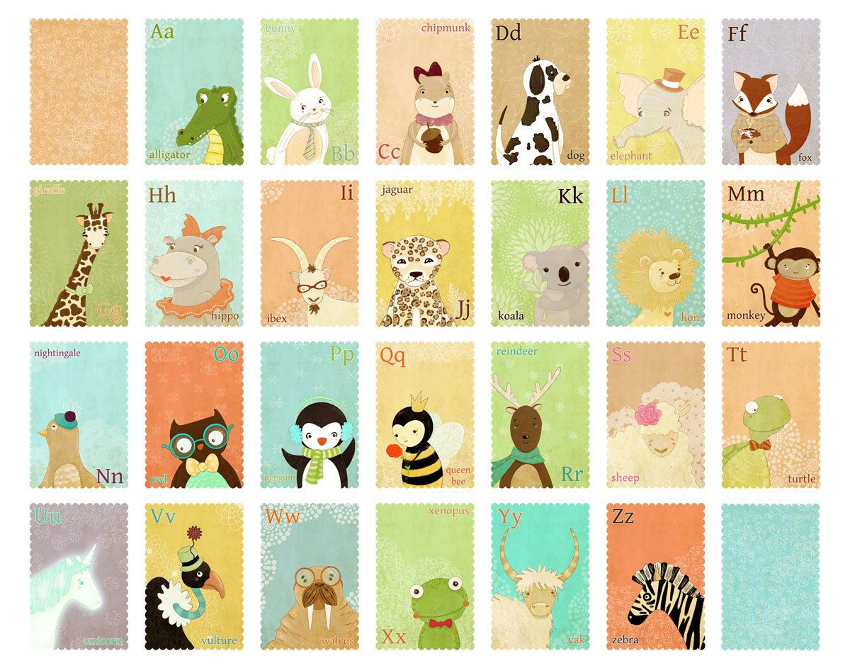 Animal alphabet large print children 39 s wall art print for Wall letters kids room