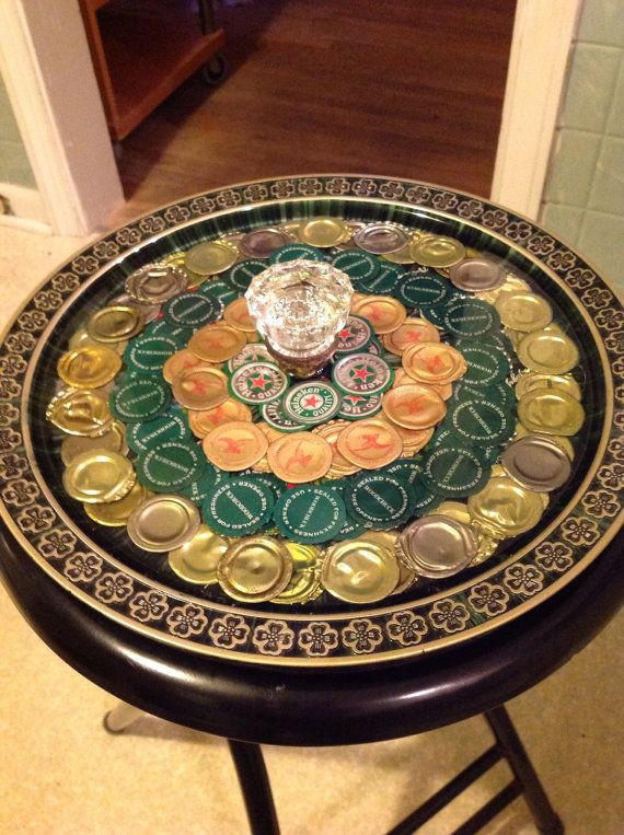 Lucky four Beercap tray by kriswitman on Etsy, $35.00