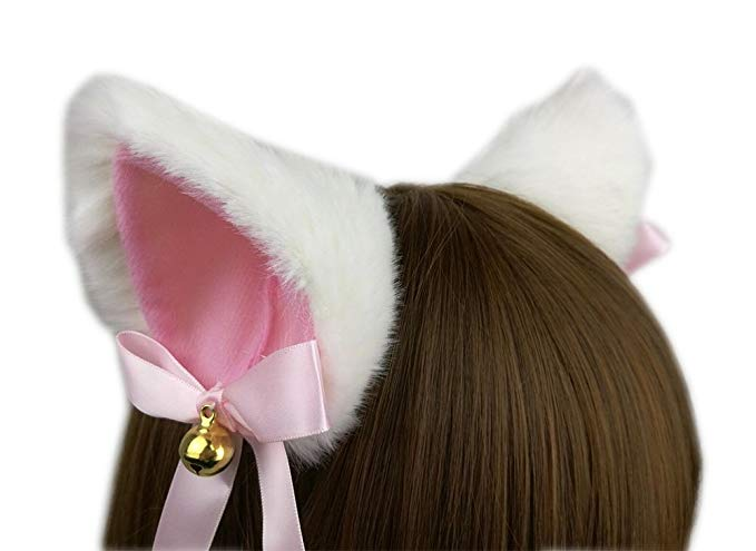 Amazon Com Ettonsun Furry Neko Cat Ears With Bell Kitty Ear Hair Clip Headband For Cosplay Costume Halloween Party Fancy Dress Cat Ears Girl Cat Ears Ear Hair