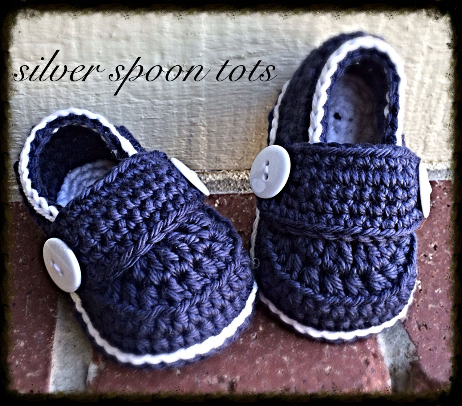 Baby Boy Stay Button Loafers Crochet Baby by SilverSpoonTots