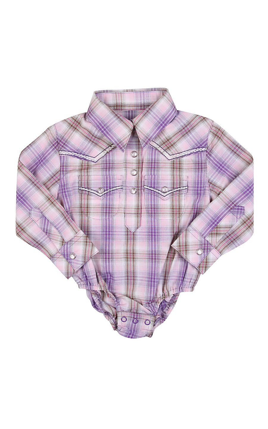 e893e6066 Wrangler® All Around Baby™ Girls Purple & Pink Plaid Long Sleeve Western  Onesie.. this site has the best onsies for boys and girls. haha they look  like ...