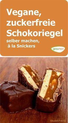 Vegane Schokoriegel mit Ahornsirup selber machen - á la Snickers | gesunex #foodsanddesserts