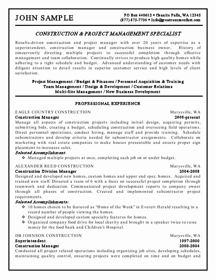 Construction Project Manager Resume Fresh Construction And Project Management Specialist Resume Example M Project Manager Resume Manager Resume Resume Examples
