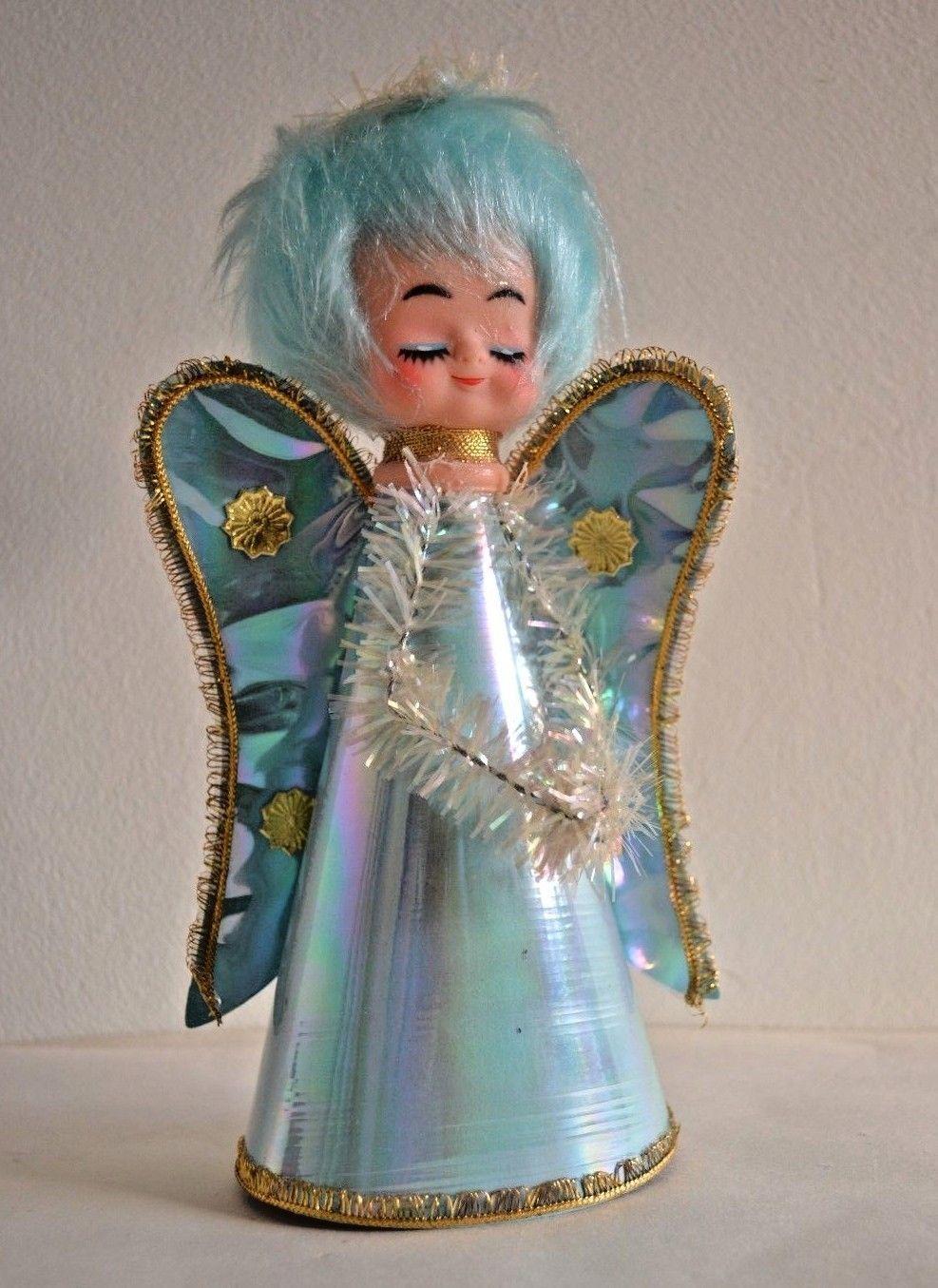 Vintage angel Christmas ornament drummer blue gold 1960s