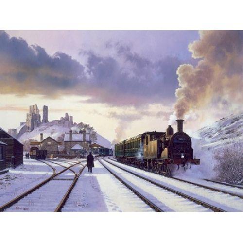 purple train in snow