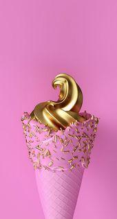 Photo of iPhone und Android-Hintergründe: Gold und Pink Ice Cream Wallpaper für iPhone …