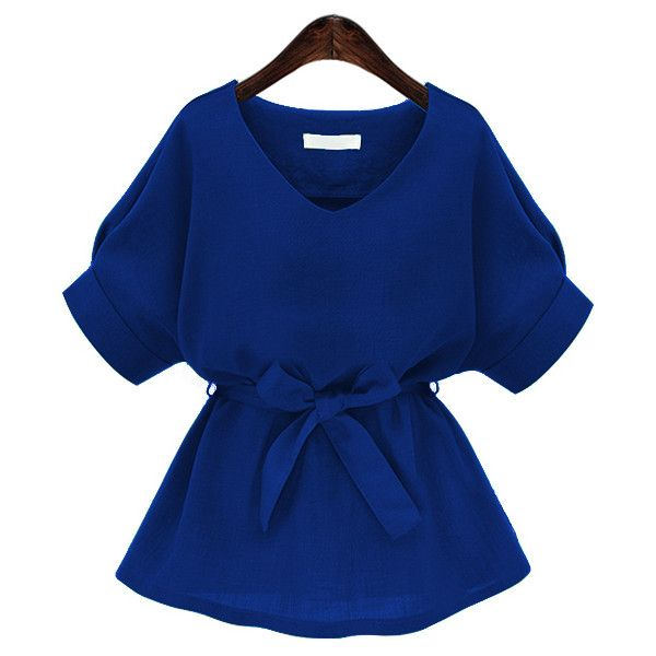 90c2a1defbebc SheIn(sheinside) Royal Blue Plunging Neckline Bow Tie Waist Blouse ( 15) ❤  liked on Polyvore featuring tops