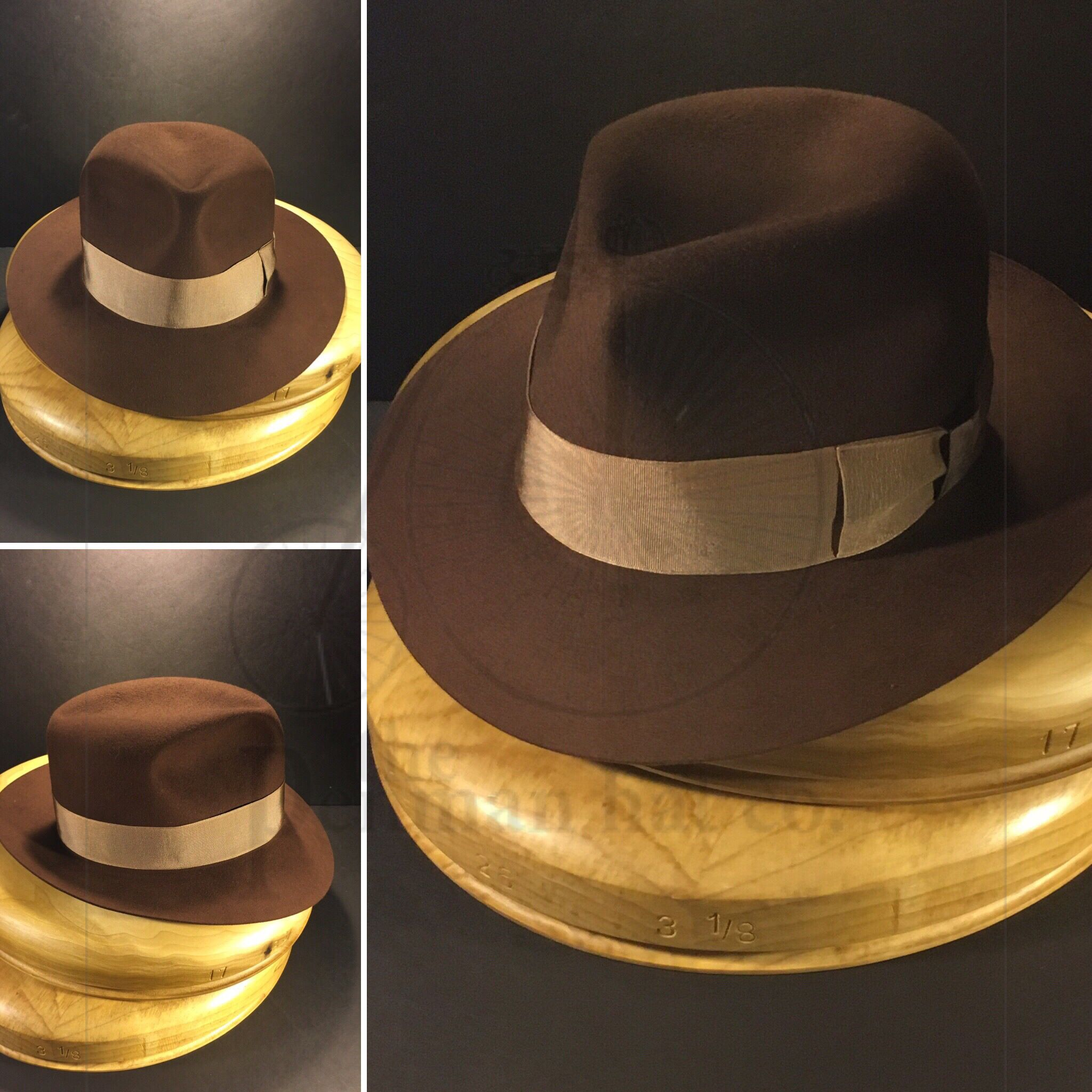 602e2d1da452f Just finished this brown Portuguese beaver felt hat with cream colored  vintage grosgrain ribbon.
