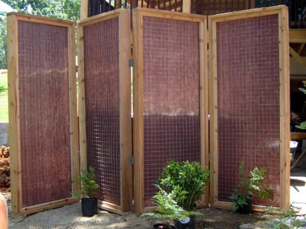A Four Panel Screen Lined With Thick Mesh Fabric. Hot Tub PrivacyOutdoor ...