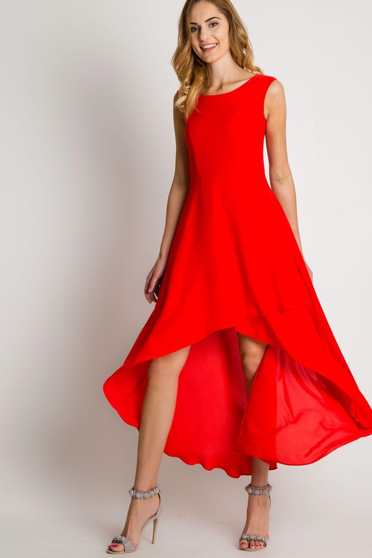 ac4e38fdfd Czerwona sukienka maxi z asymetrycznym dołem BIALCON w 2019 ...