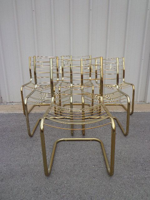 Dining Chairs Cantilever Milo Baughman Style Gold Brass Metal Mid