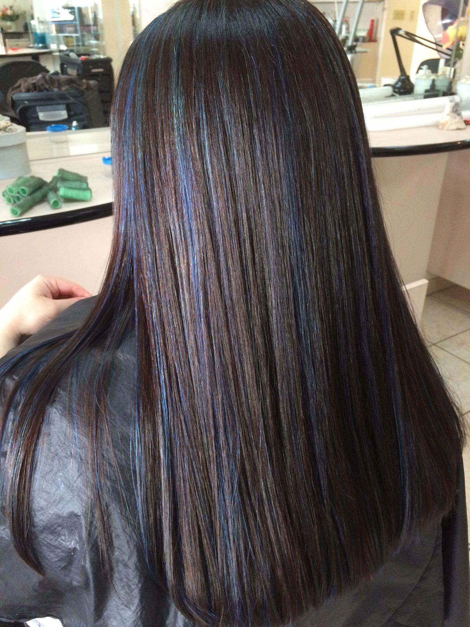 Dark Brown Hair With Blue Highlights Hair Ideas In 2019 Blue Hair Hairstyles Darkbrownha In 2020 Blue Hair Highlights Brown Hair Blue Highlights Blue Brown Hair