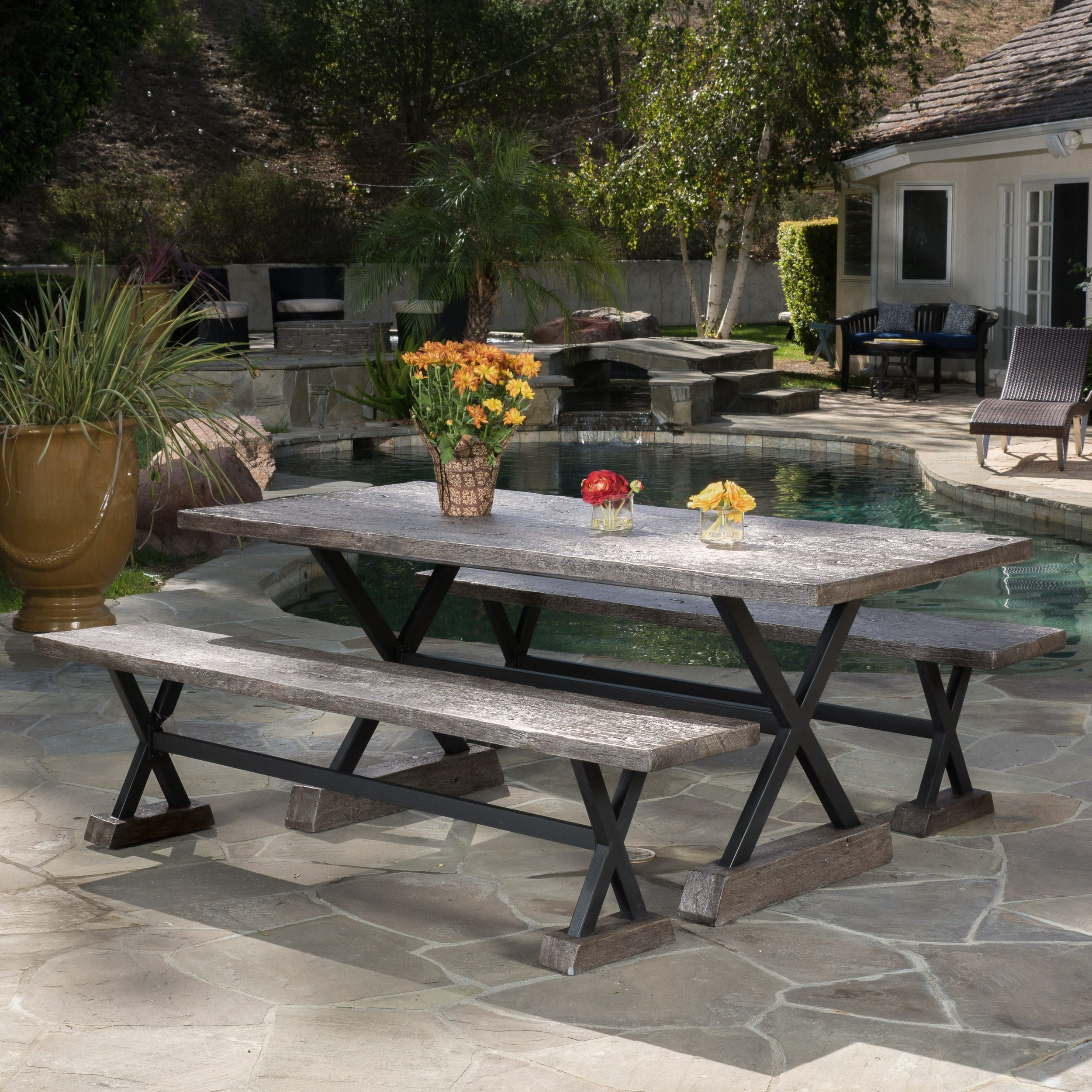 Chalmette Outdoor Rectangle Dining Table By Christopher Knight Home  (Brown), Patio Furniture (