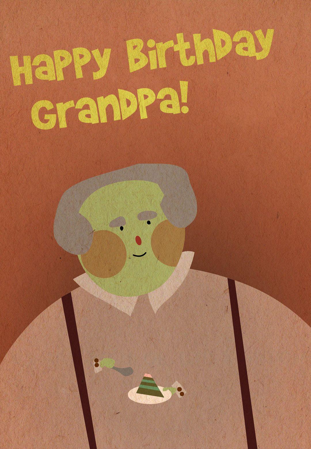 Free Printable Happy Birthday Grandpa Greeting Card Kids