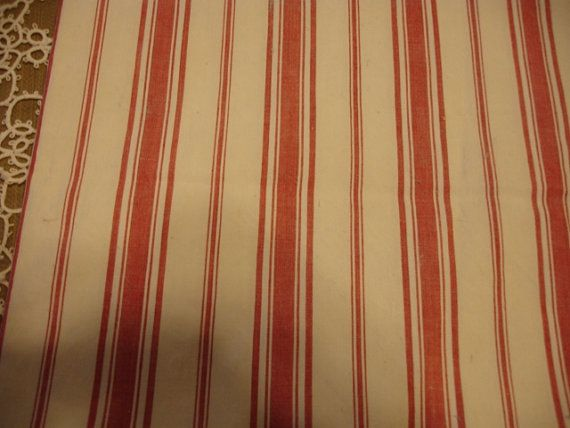 Vintage French Ticking Upholstery Fabric Light Red And Creamy Off White Striped 30 By 51 On Etsy 20 66
