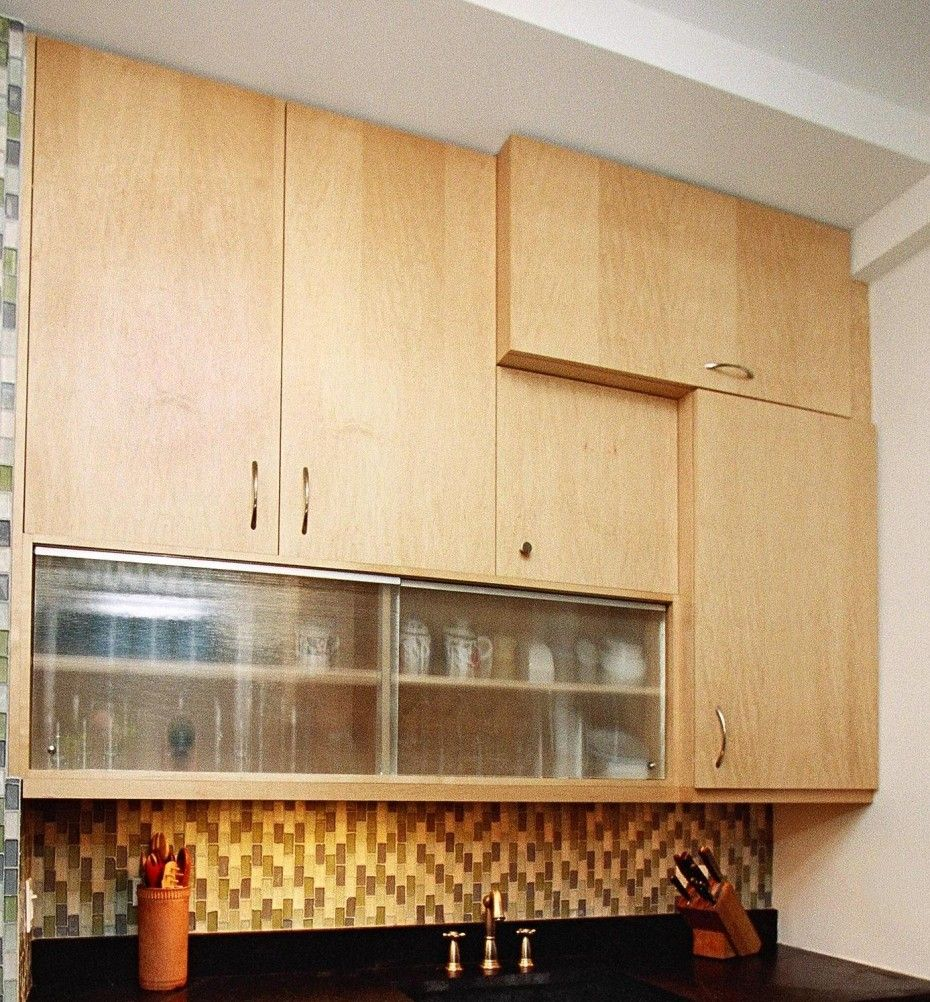 Glass cabinets set in a largely bamboo dominated kitchen - Minimalist Unfinished Wooden Wall Cabinet Doors With Glass Cabinet Doors Plus Diy Kitchen Cabinets Unique