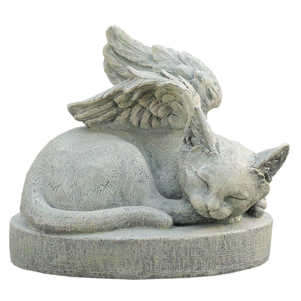 Cat angel memorial statue sympathy pet stone sculpture