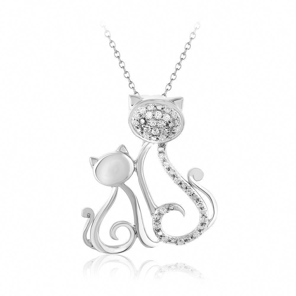 ct natural diamond mom u baby cat pendant necklace